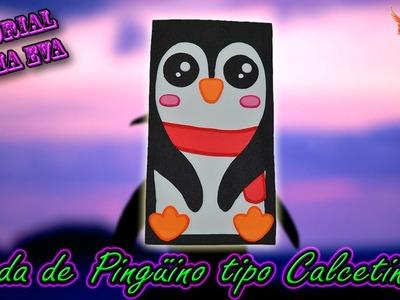 ♥ Tutorial: Funda de Pingüino tipo Calcetin de Goma Eva (Foamy) ♥