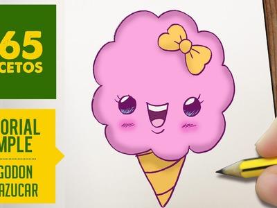 COMO DIBUJAR UN ALGODON DE AZUCAR KAWAII PASO A PASO - Dibujos kawaii faciles - draw a cotton candy