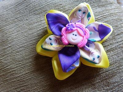 Como hacer moños en flores con cinta para el cabello  No. 278.Manualidadeslahormiga