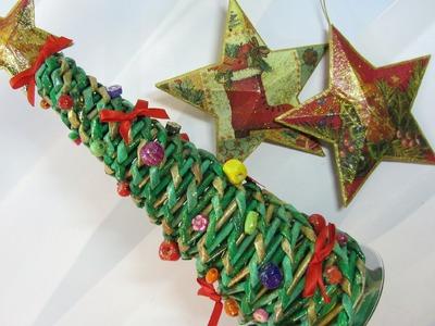 Como hacer un árbol de Navidad hecho con periódicos. Tree made with newspaper.