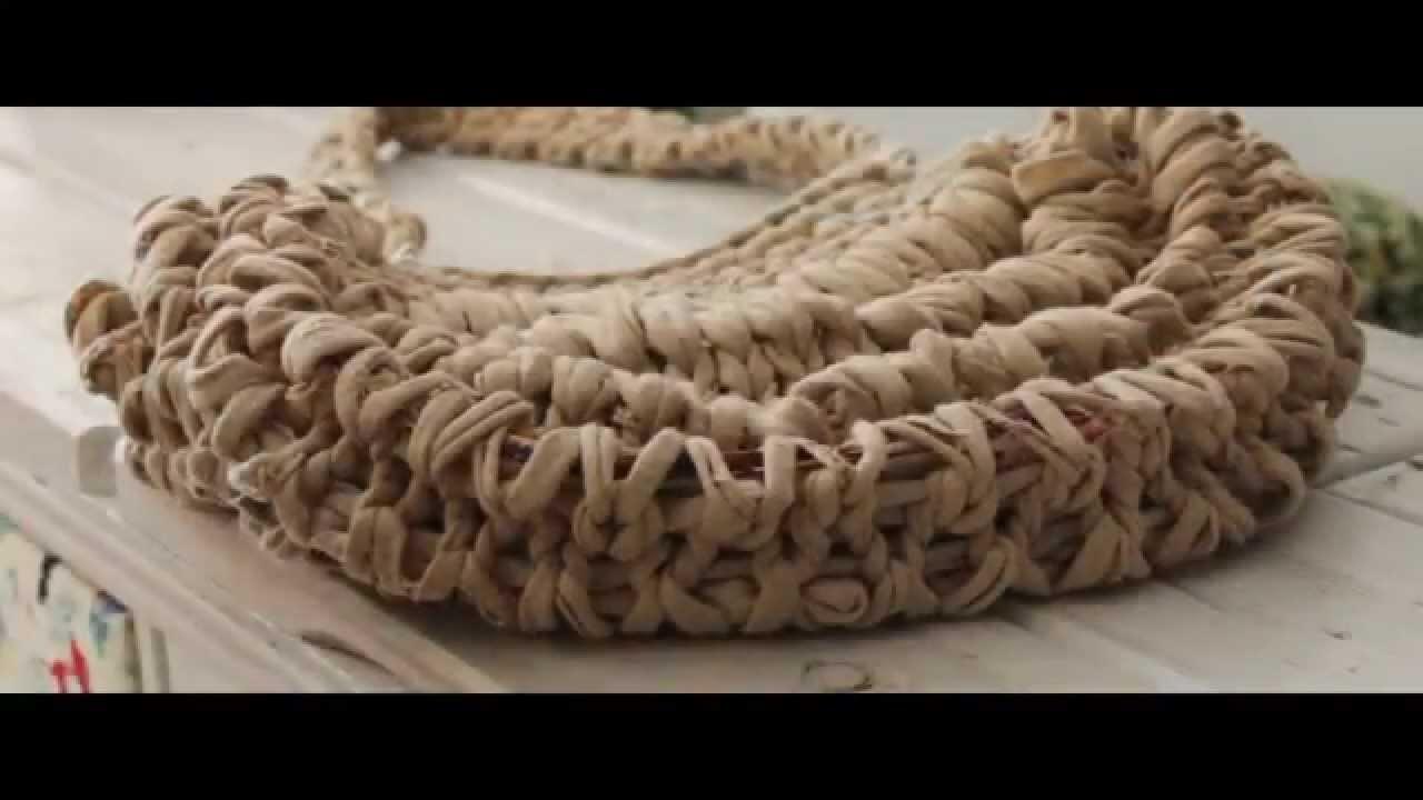 Cómo hacer un bolso de trapillo paso a paso por Sacocharte. T-shirt yarn bag tutorial