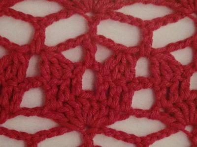 Como Tejer fácil punto calado cenefa a crochet