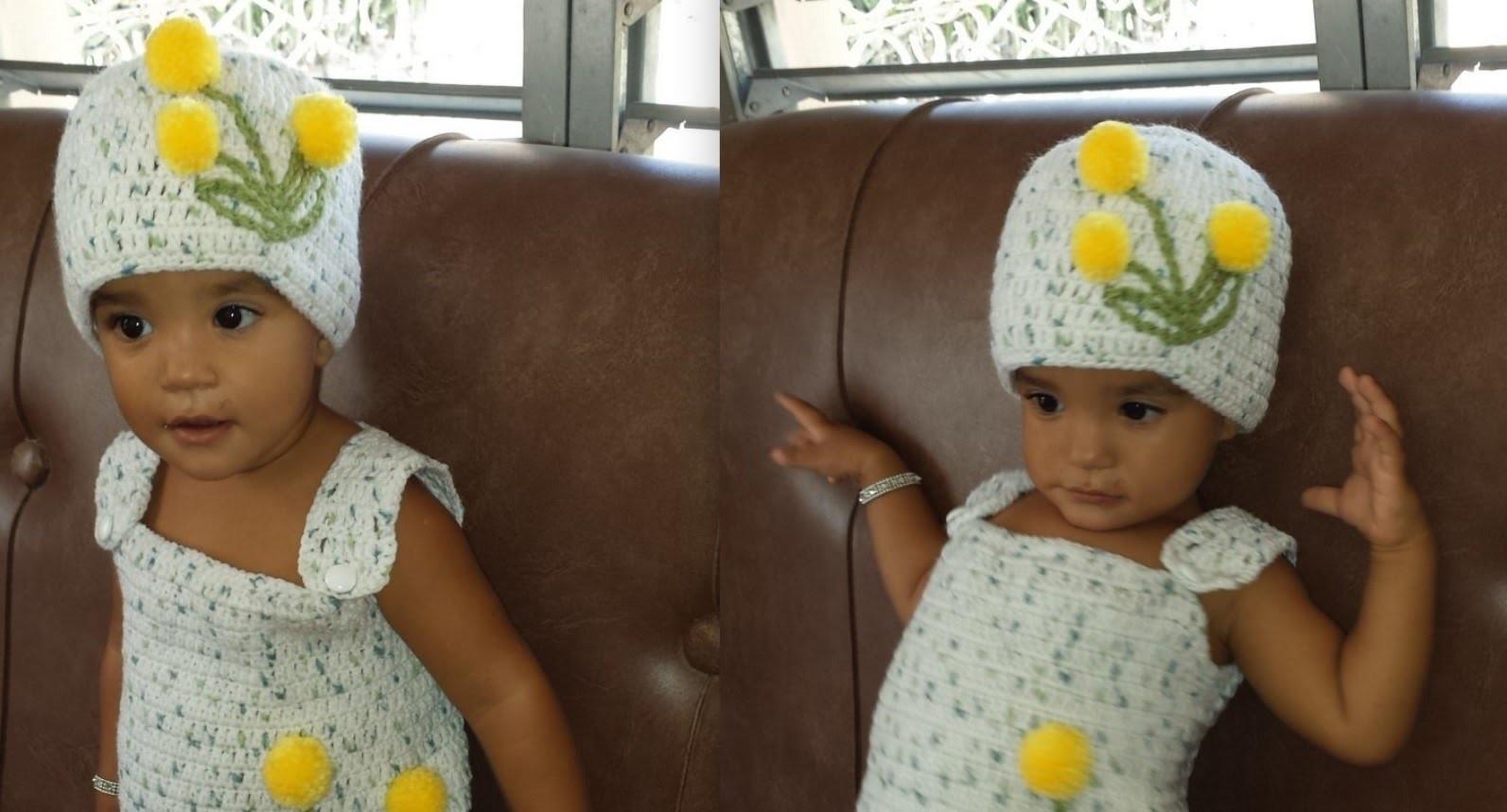 Crochet Gorro De Niña de 1 a 2 Años  Juego Con Vestido