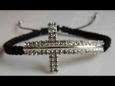 DIY Como hacer una Pulsera de cruz de strass. How to make bracelet cross stras.