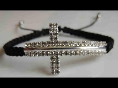 DIY Como hacer una Pulsera de cruz de strass. How to make bracelet cross stras.