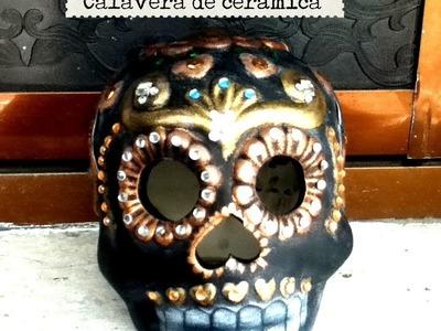 DIY Decora calavera cerámica pincel seco, lentejuela diamantes