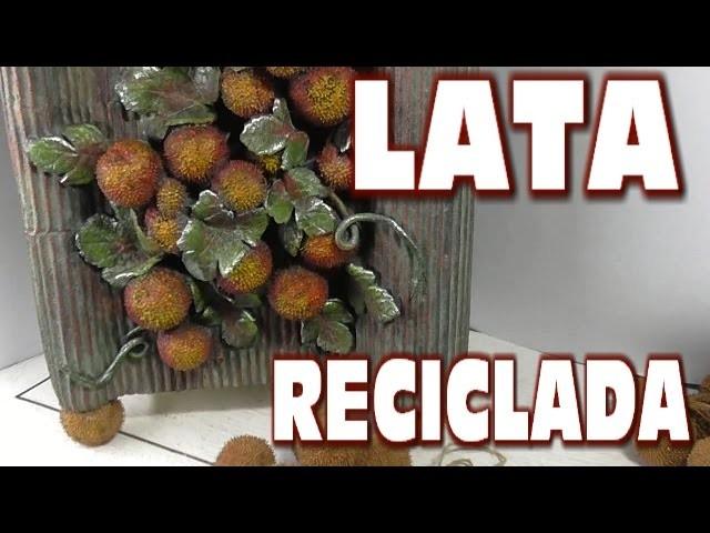 DIY PAPELERA CON UNA LATA, RECICLADA,CARTON Y FRUTOS