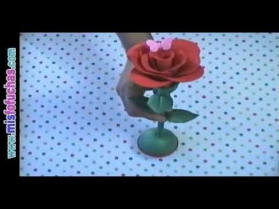 Flores Rosas en foami goma eva Regalo para el día de la madre, amor y amistad, cumpleaños Parte 1