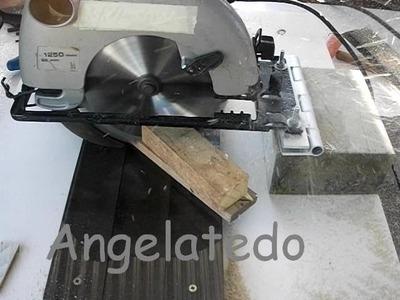 Ingletadora casera con sierra circula portátil, corte en ángulo a 45 º y 90º  (prueba).