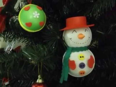Muñeco de nieve en foamy para decorar el árbol de navidad Parte 2