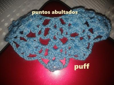 PETALOS CON PUNTOS ABULTADOS PUFF (PUNTADA DE FLORES PARA CAPA)