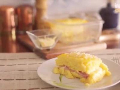 Polenta rellena de jamón y queso