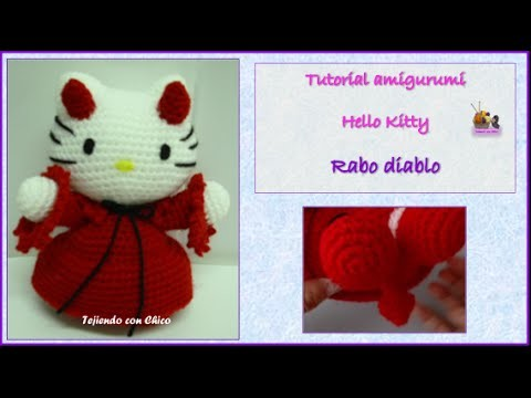 Tutorial amigurumi Hello Kitty - Rabo Diablo