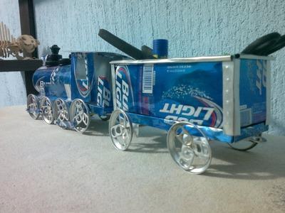 Vagón de tren hecho con latas de aluminio tutorial