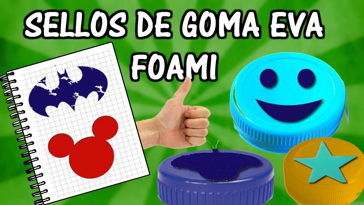 Como hacer sellos de goma eva foami. Manualidades para niños