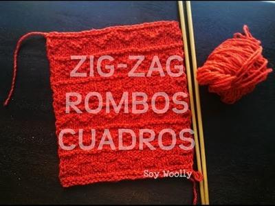 Cómo tejer zig-zags, rombos, cuadros a dos agujas-Soy Woolly