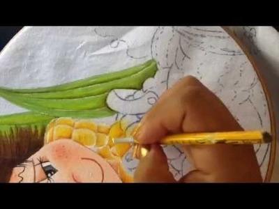 Pintura en tela niño elote # 3 con Cony