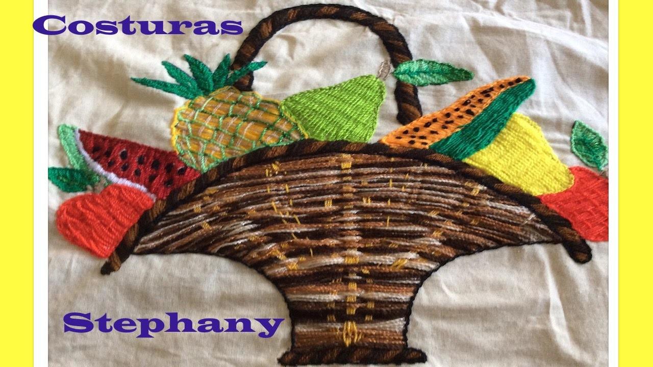 Bordado Fantasia Canasto de Frutas Parte 2 de 2