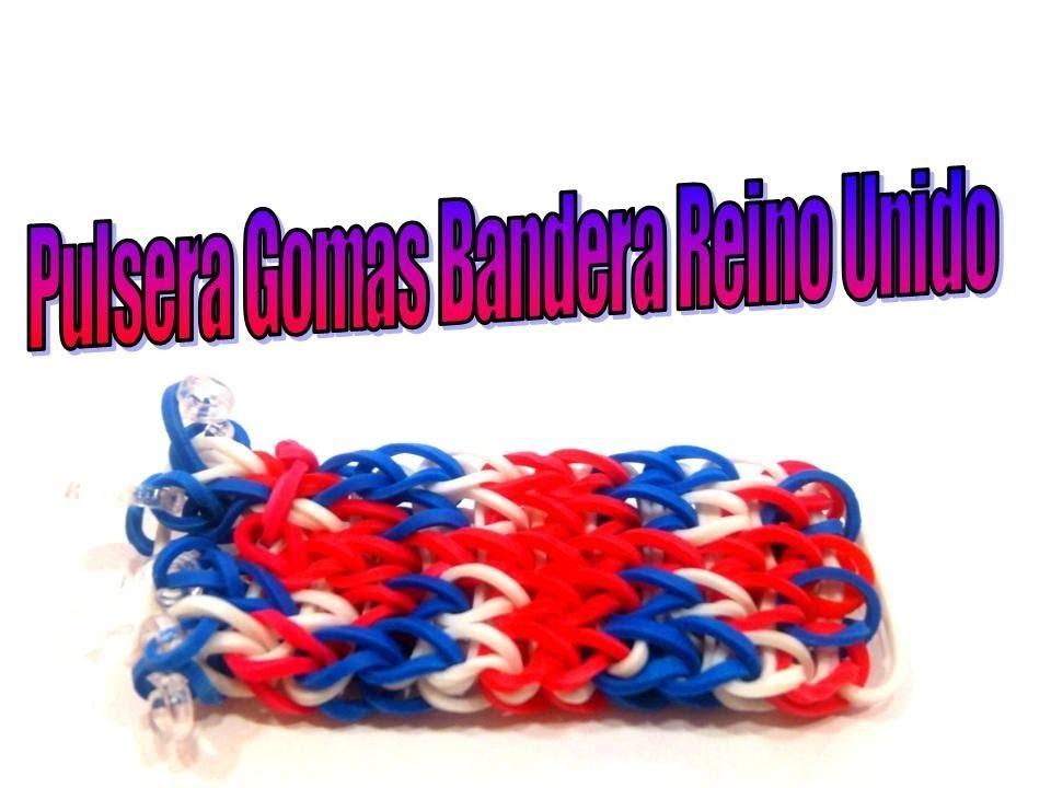 COMO HACER PULSERA DE GOMAS BANDERA REINO UNIDO.RUBBER BRACELET FLAG UNITED KINGDOM