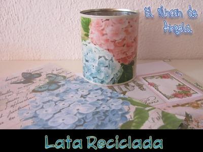 DIY Como reciclar una lata con decoupage casero