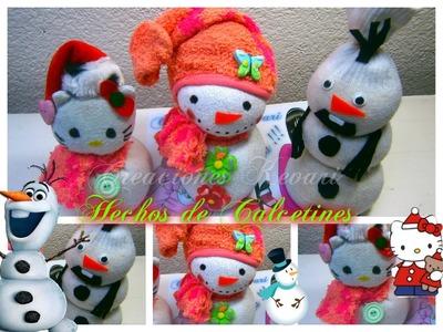 Olaf,Hello Kitty y Muñeco de Nieve ( hechos con Calcetines, calcetas) Snowman sock  Plush Tutorial