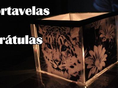 Portavelas de caratulas, lámpara de carátulas - Manualidades Fáciles