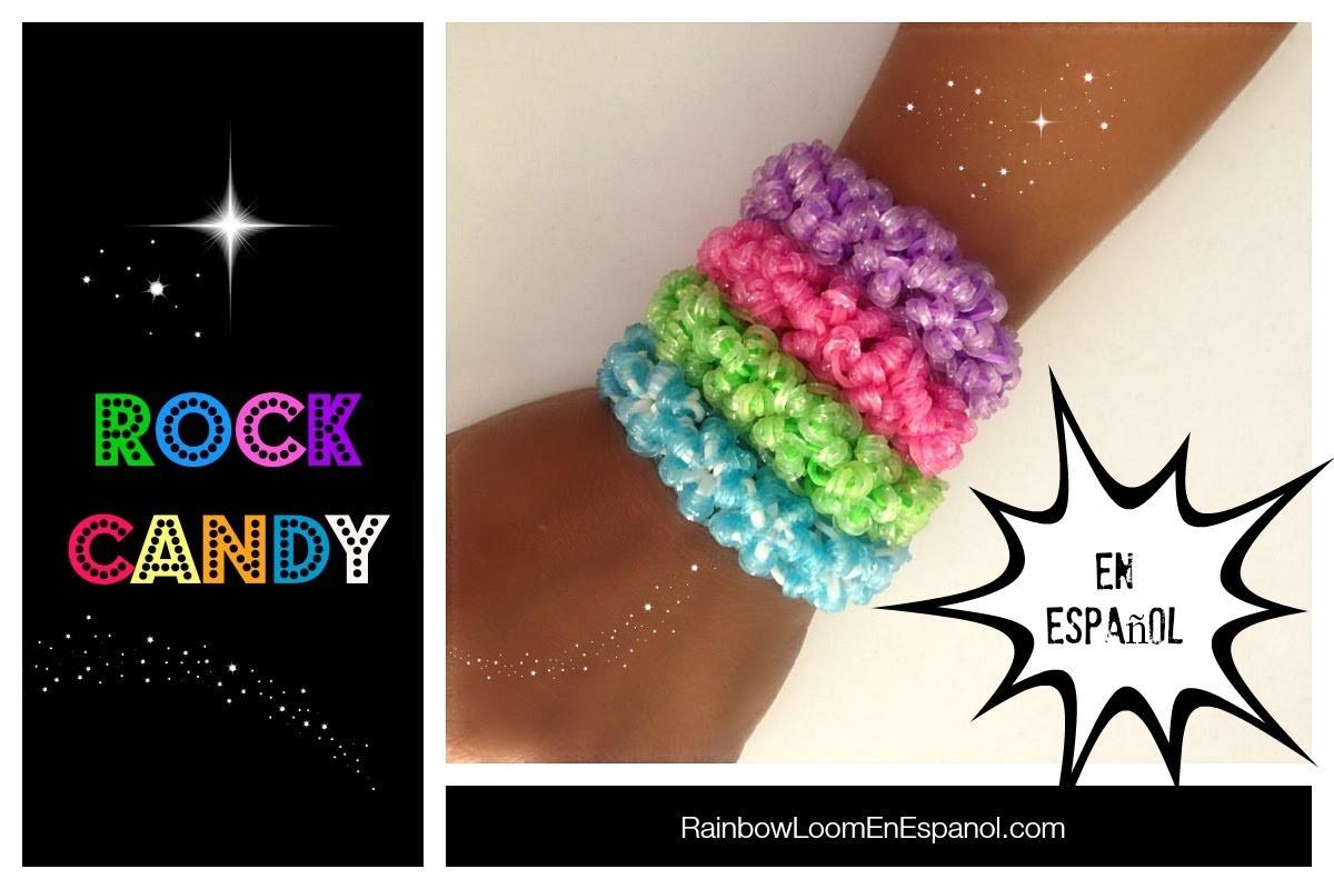 Rainbow Loom en ESPAñOL - Como Hacer Pulseras de Ligas Rock Candy DIY