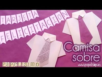Tarjeta ♥ Felicitación ♥ Sobre || Camisa con corbata ||