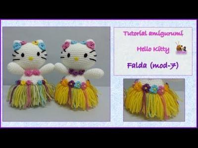 Tutorial amigurumi Hello Kitty - Falda (mod-7)