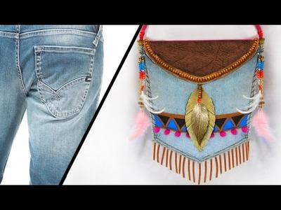 Bolso étnico con Jeans reciclado.