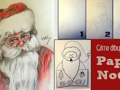 Cómo dibujar a Papa Noël paso a paso. Dibujo fácil.