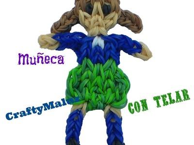 Como hacer una muñeca de gomitas o ligas con telar, parte 1