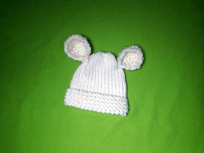 Cómo tejer con telar un gorro para bebé con orejitas (Tutorial DIY)