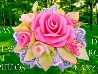 DIY rosas con capullos en flor en cintas - roses with blooming flowers in ribbons