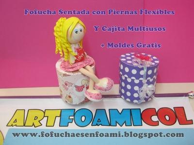 Fofucha Sentada Con Piernas Flexibles Y Cajita Multiusos