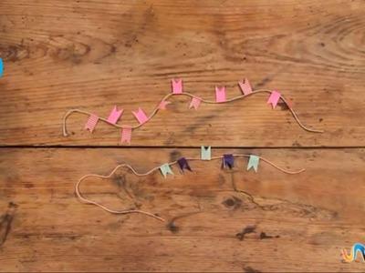 Hacer guirnalda con cinta adhesiva de colores