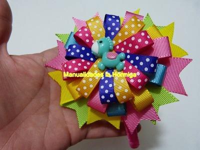 Idea de moños redondos  con cinta para el cabello.hair bows