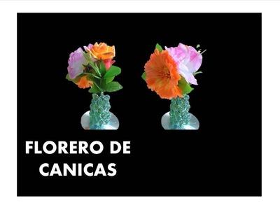 Manualidades. Como hacer floreros con canicas