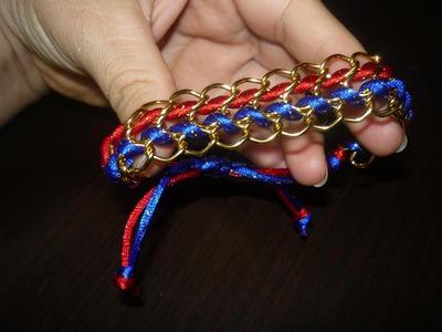 Paso a paso de pulseras con cadena y cola de raton -video  136 Manualidades la Hormiga
