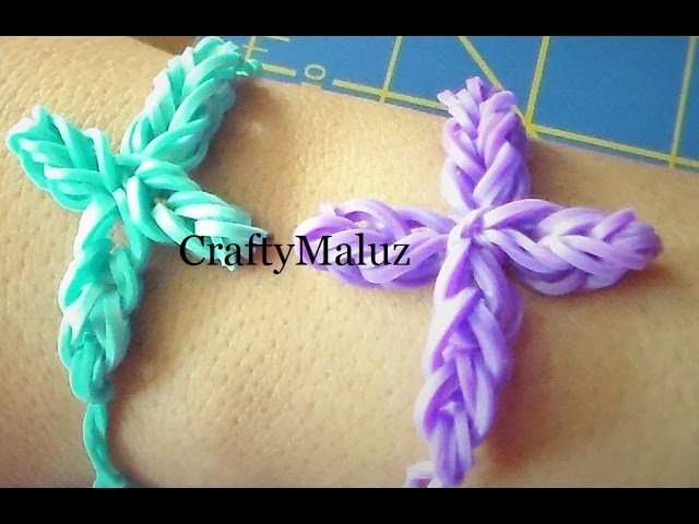 Pulsera De Gomitas En Cruz sin telar.  Rubber Band Cross Bracelet