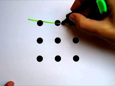 Une nueve 9 puntos con tres 3 líneas rectas sin levantar el boligrafo.