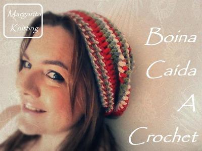 Boina caída hacia atrás a crochet (diestro)