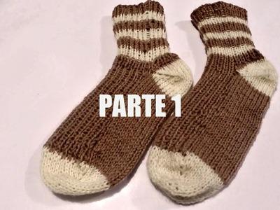 Calcetín de lana tejido palillos (wool fabric sock) parte 1.