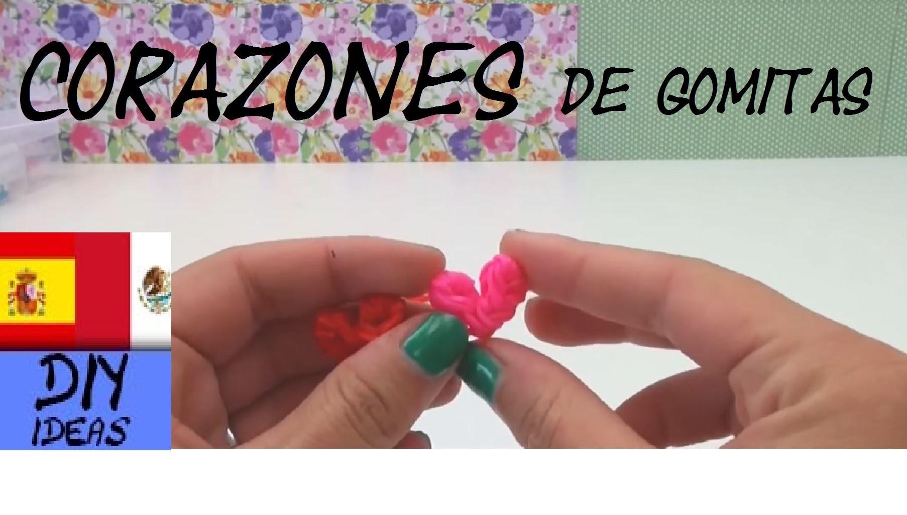 CÓMO HACER CORAZONES DE GOMITAS - HEART CHARM - SIN TENEDOR Y SIN TELAR - TUTORIAL EN ESPAÑOL - DIY