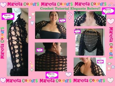 "Crochet Bolero Elegante ""Fernanda"" (Parte 2) Tutorial por Maricita Colours"