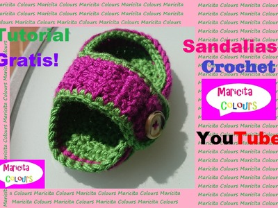 "Crochet Sandalias  Bebé ""Lucha"" (Parte 1) por Maricita Colours"