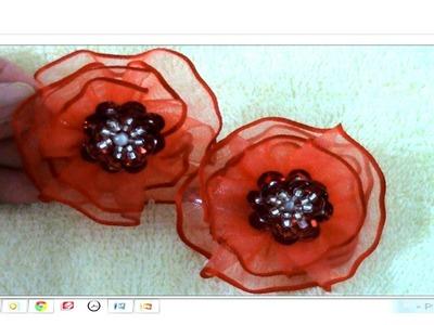 Flores y moños en cintas bordadas Tips 4 como colocar ganchos