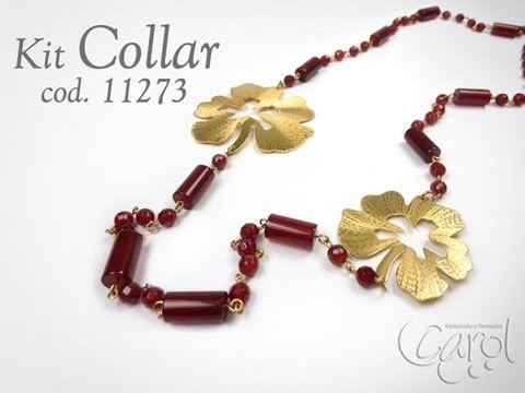KIT 11273 Kit Collar agata roj faceteada bronce
