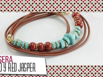 Pulsera con cordón de cuero y turquesas | VARIEDADES CAROL
