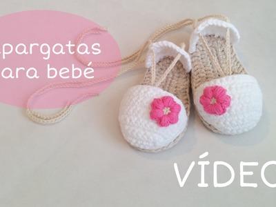 Sandalias o alpargatas para bebé tejidas a crochet (VÍDEO I)